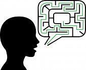 Puzzled Person Silhouette Talks In Maze Speech Bubble Solution