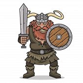 Angry Viking stand with sword and shield