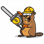image of chainsaw  - Illustration beaver holds chainsaw - JPG