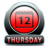 picture of thursday  - thursday week next or following day schedule concept for appointment or event in agenda - JPG