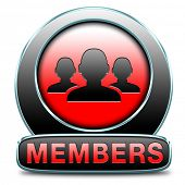 members only area icon sign or sticker become a member and join here to get your membership applicat