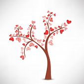 Happy Valentines Day concept with love tree on grey background.