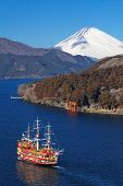 stock photo of mount fuji  - Mountain Fuji and Achi lake from kanagawa prefecture japan - JPG