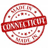 Made In Connecticut Red Round Grunge Isolated Stamp
