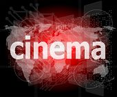 stock photo of blue-screen-of-death  - cinema word on digital screen with world map - JPG