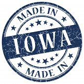 Made In Iowa Blue Round Grunge Isolated Stamp