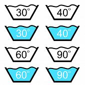 Set Of Washing Sign Vector Illustration