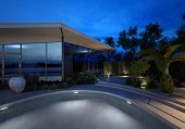 Upmarket modern design house with a glass facade and illuminated swimming pool at night with plants