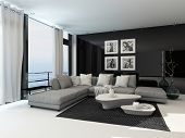 Lounge interior in a coastal apartment with floor to ceiling windows overlooking the sea, curtains, a comfortable beige corner lounge unit, carpet and modern coffee tables with dark accents