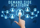 pic of cpa  - Demand Side Platform concept with hand pressing social icons on blue world map background - JPG