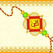 picture of rakhi  - vector illustration of beautiful rakhi on Raksha Bandhan background - JPG