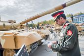 Officer of foreign army studies tank T-72. Russia