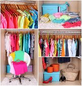 Wardrobe with clothes collage