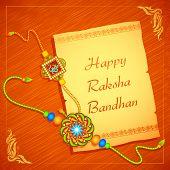foto of rakhi  - vector illustration of beautiful rakhi on Raksha Bandhan letter - JPG