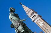 Old statue of Giuseppe Tartini in Piran, Slovenia
