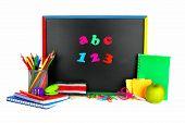 School supplies and blackboard
