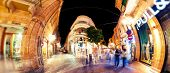 Nicosia, Cyprus - April, 16 2013: Ledra Street At Night, Major Shopping Thoroughfare In Central Nico