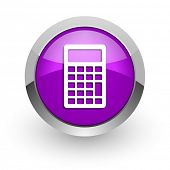 calculator pink glossy web icon