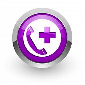 emergency call pink glossy web icon