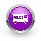 police pink glossy web icon