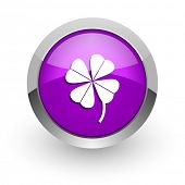 four-leaf clover pink glossy web icon