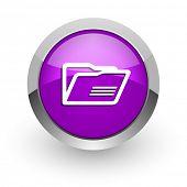 folder pink glossy web icon