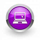 computer pink glossy web icon