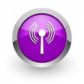 wifi pink glossy web icon