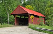 picture of covered bridge  - Red bridge over Sterling Brook in Morristown Vermont - JPG