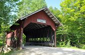 image of covered bridge  - Brookdale covered bridge on Brook Road in Stowe Vermont - JPG