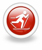 foto of nordic skiing  - Icon Button Pictogram with Cross - JPG