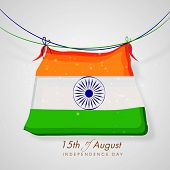 15th of August, Independence Day celebrations concept with national flag on grey background.