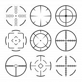 Set Of Black Crosshairs Icons.