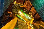 Golden Buddha Statue In Wat Po, Thailand