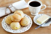 Brazilian Snack Pao De Queijo (cheese Bread) White Plate Butter Coffee