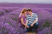 Romantic Couple In Love In Lavender Fields In Provence