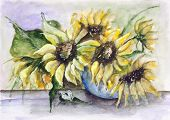stock photo of paint pot  - Blossom summer green sunflowers in ceramic pot - JPG
