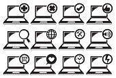 Laptop And Different Functions Icon Set
