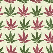 Seamless marijuana red and green leaves pattern.
