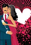 Kissing couple on  hearts  background. Vector illustration