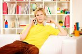 Handsome young man sitting on sofa at home and talking on the phone.