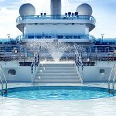 MEDITERRANEAN - July 2:  Pool deck of luxury Princess Cruises ship