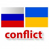 The conflict between Russia and Ukraine - symbolic illustration - image of a flag of the Russian Fed