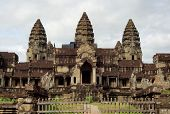 stock photo of building relief  - temple complex named Angkor Wat in Cambodia - JPG