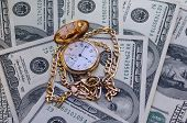 Retro Golden Pocket Watch On Hundred Dollars