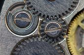 Background With Metal Cogwheels A Clockwork. Macro, Extreme Closeup.