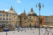 Tourists On The Piazza Di Popolo, Rome, Italy