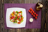 image of gyro  - Chicken gyros salad on white plate top view - JPG