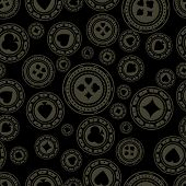 Seamless Dark Casino Chips Pattern