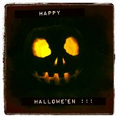 Instagram filtered style image of a Halloween greeting and jack o lantern
